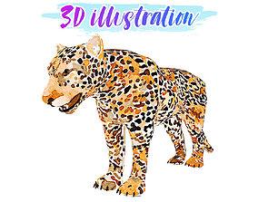 Low Poly jaguar Illustration Animated - Game 3D model