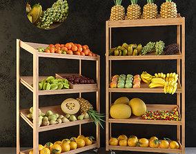 window 3D model Grocery showcase 2