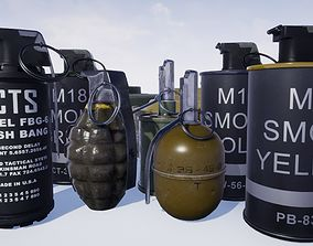 3D asset low-poly Grenade Pack
