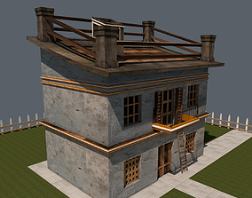 Cartoon House plants 3D model low-poly