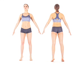 Woman sport in A pose ready for rigging 20 3D model
