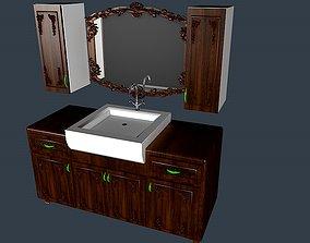 3D model Wooden bathroom sink with mirror