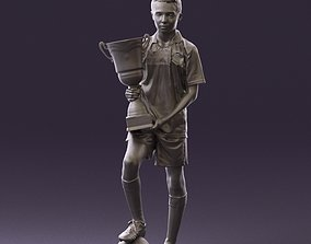 Soccer boy with cup and ball 0897 3D Print