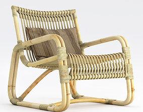 Cane-Line Curve lounge armchair Natural 3D