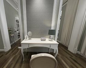 3D European style chair table dressing room leisure chair