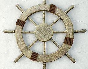 Large Marine Ship Wheel Nautical Decor 3D