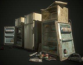 3D asset Refrigerator 3 options clean rusty broken pack