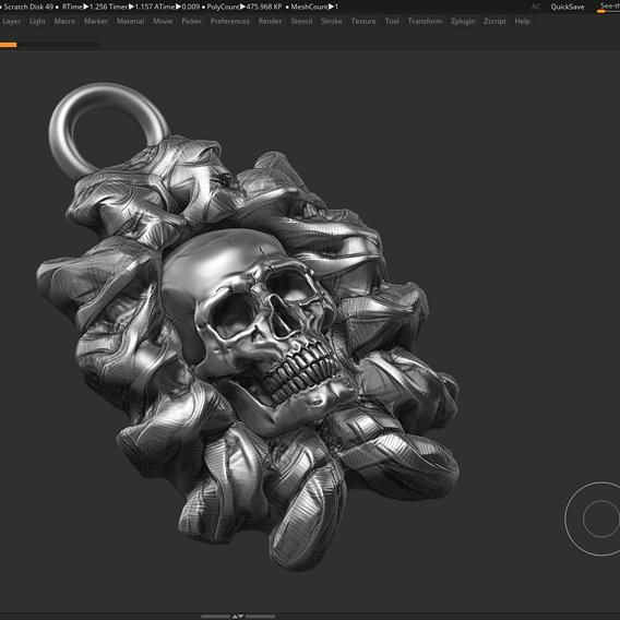 Skull Pendant 3d print model 09