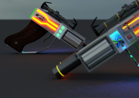 futuristic double barrel revolver