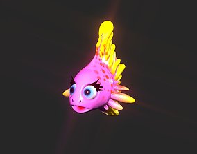 Cartoon gold fin fish lady 3D model rigged
