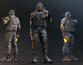 Sci-fi Soldier Riged 3D asset