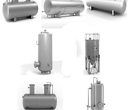 Set of six different welded metal containers 3D model
