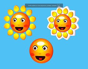 Subdivision Cartoon Summer Sun Logotype Sign 3D model