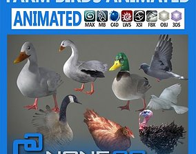 Pack - Farm Birds Animated 3D model