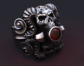 3D printable model mystical ring with skull and horns