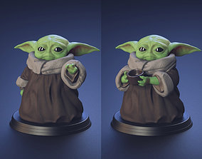 Baby Yoda - Using The Force and Drinking 3D print model 4