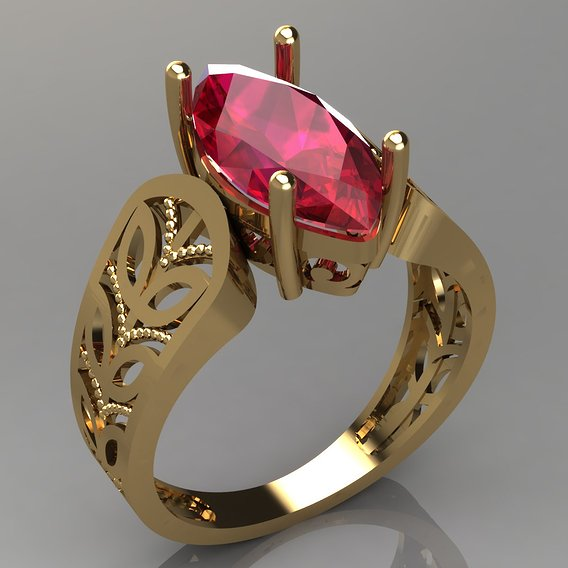 Ruby marquise women ring
