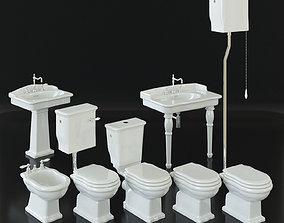 Classical bathroom furniture set - toilet bidet 3D