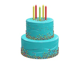 Birthday cake with candles and candies 3D