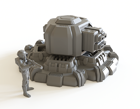 Sci fi turret emplacement 02 for tabletop 3D print model 1
