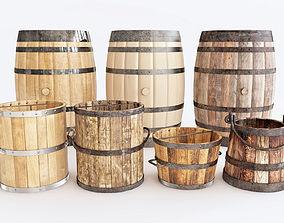 3D model barrels and buckets