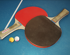 3D model Ping Pong Paddle and Ball