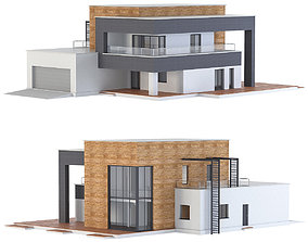 Modern house 3D asset game-ready two-story