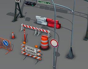 3D model Road Objects pack - low poly