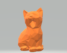 Cat yawns low poly 3D print model