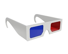 Glasses cinema 3d paper red blue accessory PBR