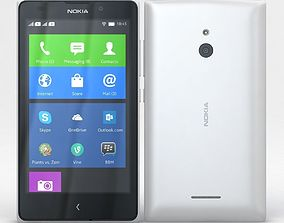 3D Nokia XL and XL Dual White smartphone
