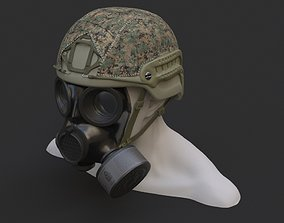 Military helmet and Gas mask 3D model