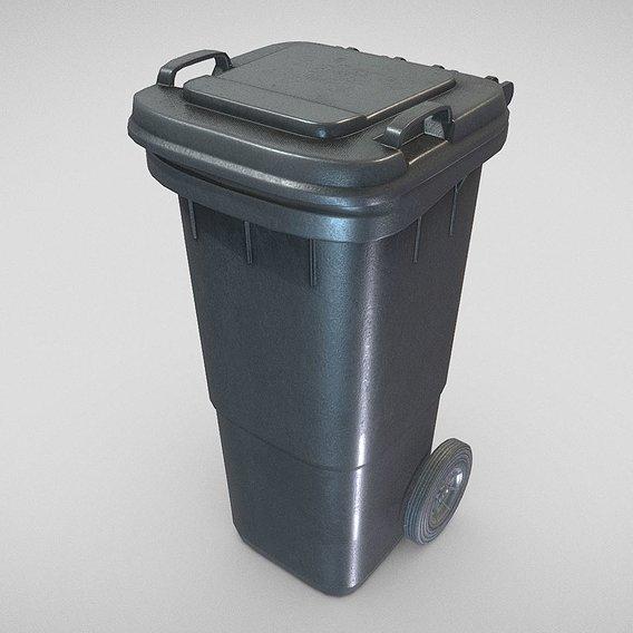 Black Plastic Waste Bin 60 Liters 945x360x448