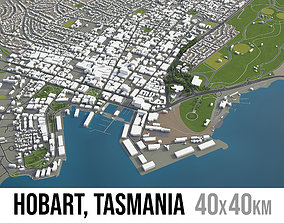 Hobart - city and surroundings 3D asset low-poly