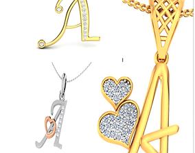 3D printable model alphabet pendant ring
