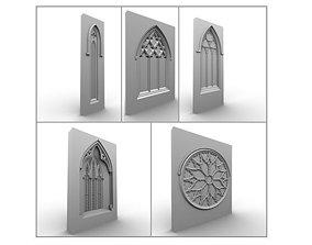 3D model 5 Medieval Gothic Windows Set