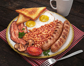 Full English breakfast 3D
