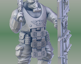 Armored Scifi Ogre with Shield 3D print model