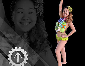 3D asset Female Scan - Lily Hawaiian Costume 2