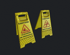 3D model realtime Wet Floor Sign