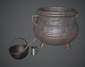 Cauldron Medieval 3D asset low-poly