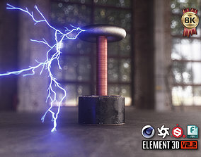 game-ready Tesla Coil 3D Model