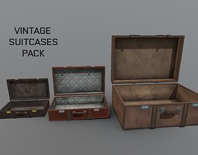 3D asset Vintage old suitcase package apocalyptic interior