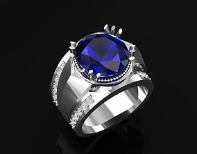 White Gold Ring With Sapphire 1 3D print model