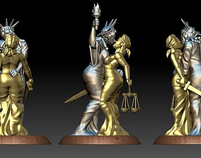 LADIES LIBERTY AND JUSTICE KISS 3D printable model