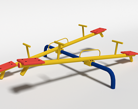 Low Poly Cartoon Playground Seesaw 3D asset
