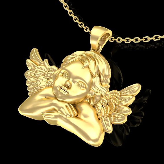 Angel baby Pendant jewelry Gold 3D print model