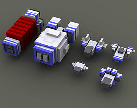 Voxel style spaceships 3D