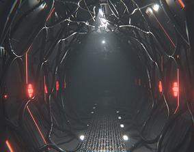 Sci Fi Corridor Tunnel Interior 3D model animated