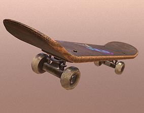 Old Scratched Skateboard 3D model